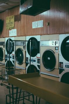 Suburban Gothic Soft Grunge laundromat shot using some Polaroid color grading and I liked the beige and white tones for the washing machines. #softgrunge #laundromat #polaroid #lookslikefilm #vsco