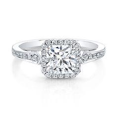 18K White Gold Vintage Inspired Square Diamonds Halo Engagement Ring...I like the halo idea