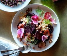 Roast beetroot with shankleesh, onion, almonds and dill :: Gourmet Traveller Magazine Mobile Dill Recipes, Roast Recipes, Gourmet Recipes, Healthy Recipes, Salad Recipes, Beetroot Recipes, Homemade Pickles, Middle Eastern Recipes, Recipe Search