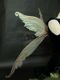 This fairy wing design was based off of a custom wing job for Amber Wren. There were a few defects when the metal was cut, so her pair is being re-cut a. Light green fairy wings back Green Fairy, Diy Wings, Wings Design, Fairy Dress, Fairy Makeup, Fantasy Costumes, Fairy Land, Butterfly Wings, Betta