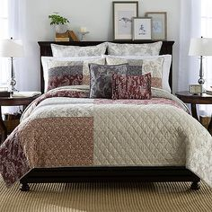Update your bedroom& décor with the charming Shayla Quilt. Embellished with delicate embroidery atop a pieced patchwork design in warm spice, taupe, cream and khaki hues, the beautiful bedding instantly brings timeless elegance to any room. King Pillows, Pillow Shams, Quilt Bedding, Bedding Shop, European Pillows, Master Bedroom Makeover, Bedding Collections, Bedroom Decor, New Homes