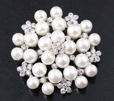 Pearl and Crystal Flower Brooch Vintage Glamour