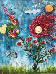 """Book cover for the tale """"The snail & the rose tree"""" by Hans Christian Andersen.  Art by Rosie Martinez-Dekker in mixed media Believe creative studio ©2013 All rights reserved"""