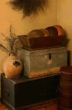 Old Wooden Chests...dough bowls & olde prim stoneware jug.