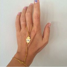 Gold ColorEvil Eye Hamsa Hand Slave Bracelet by santorinijewellery