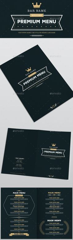 Premium Food Menu by D-S The file is inches with in bleeds, one page, CMYK whit PSD files are very well organised and layers na Restaurant Fast Food, Pizzeria Menu, Restaurant Specials, Bakery Menu, Restaurant Menu Template, Restaurant Menu Design, Restaurant Flyer, Menu Template Word, Weekly Menu Template