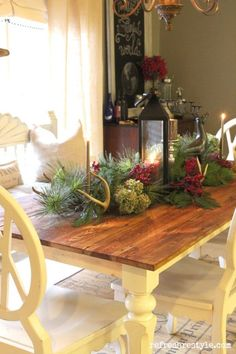 Farm table dressed for Christmas - Refresh Restyle Christmas Dining Table, Christmas Table Settings, Christmas Tablescapes, Christmas Decorations, Table Decorations, Christmas Tabletop, Christmas Displays, Christmas Centerpieces, Holiday Decorating