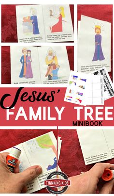 Jesus' Family Tree Minibook (a part of the Christmas Bible Crafts for Kids series at Thinking Kids! Jesus Family Tree, Family Tree For Kids, Trees For Kids, Family Trees, Learning Activities, Kids Learning, Church Activities, Christmas Bible, Bible Crafts For Kids
