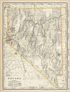 Nevada Map, Vintage World Maps, Historical Maps, Vintage Wall Art, Products, Gadget