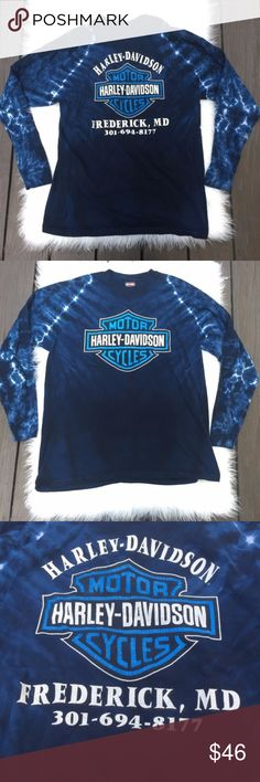 Harley Davidson Tie Dye Oversize Long sleeve Shirt Preowned Harley Davidson Frederick MD t-shirt R.K. Stratman INC design Made in USA #: 301-694-8177 long sleeve tee Motorcycles Harley-Davidson graphic print on the front and back blue and white tie dye pattern  Gently used condition with no stains, rips, or holes. Normal wash and wear. Minor cracking on the print as pictured. Size: large Please see pictures for fabric content and approximately measurements flatlay, relaxed  Feel free to make…