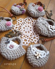 embellished crochet mini bag necklace
