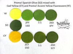 Premo! Spanish Olive (SO) mixed with Premo! Cad Yellow (CY) and then mixed with Premo! Accents Yellow Fluorescent (YF)