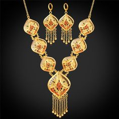 Gold Color Indian Jewelry Set Women Tassel Necklace & Drop Earrings Vintage Party Earing And Necklace Jewellery Sets NE895