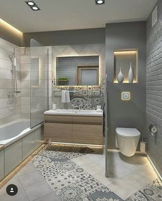 Fresh and Stylish Small Bathroom Remodel add Storage Ideas [Before/After] Small. - home renovation ideas - Bathroom Decor Modern Bathroom Design, Bathroom Interior Design, Home Interior, Decor Interior Design, Modern Interior, Interior Decorating, Decorating Bathrooms, Bathroom Designs, Modern Decor