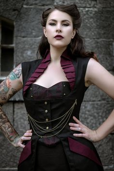 Steam Punk Gothic Burelsque Full Length Victorian Steampunk Black Jacket Coat Vest