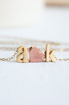 Love initial heart Couples necklace