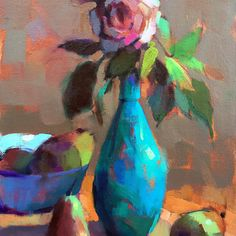 Turquoise Vase, original oil painting, available at www.trishaadams.com #painting #floral #rose #impressionism