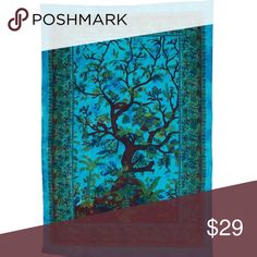 Handicrunch Boho Tree of Life Tapestry Turquoise 100% cotton made Screen printed and intricate design Radiant shades of vibrant color in a beautiful traditional pattern Perfect as a bedspread, wall hanging, tablecloth or beach cover up Hand crafted in India using traditional methods Other