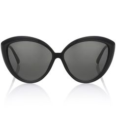 Linda Farrow - Cat-eye sunglasses - Linda Farrow takes the vintage cat-eye shape and updates it with these all-black sunglasses. The sleek, streamlined frame will add a glossy note to daily edits, while the dark 18k gold-plated Cridalon® mirror lenses offer 100% UVA/UVB protection. Pair yours with nude lips and a red trench coat for showstopping prowess. seen @ www.mytheresa.com
