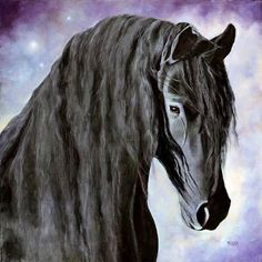 Hessel, The Gentle Giant, Friesian Horse Painting by Marina Petro, painting by artist Marina Petro