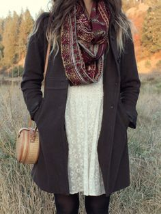 White dress, black day coat and leggings with scarf