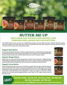 Green Leaf Naturals Free E-Books Cocoa Butter, Shea Butter, Green Leaves, Mother Nature, Vitamins, Organic, Pure Products, Education, Books