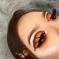 Schmetterling Make-up # aesthetic makeup Dramatic Eye Makeup, Makeup Eye Looks, Colorful Eye Makeup, Eye Makeup Art, Eye Makeup Remover, Crazy Makeup, Eyeshadow Makeup, Eyeliner, Fun Makeup