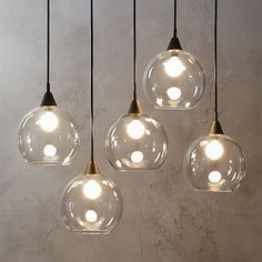 Glass pendant lamp for living room high five. Industrial modern chandelier suspends five glass globes from black
