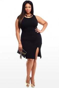 Plus Size Isabelle Textured Side Slit Dress | Fashion To Figure