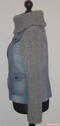 """Не выбрасывайте старые джинсы! Теплая куртка. Для начинающих, но сомневающихся в своих возможностях рукодельниц))) - """"Шью - вяжу - соединяю""""))...или """"Комбинированные вещи""""...или """"Сочетание вязания и шитья"""" - Страна Мам"""