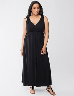 Soft knit maxi dress gets an extra-special kick from artsy macram� straps and a sexy racer back design. Your Little Black Dress for the season, this beauty goes wherever the season takes you with its versatile, flattering style. Surplice neckline and empire waist highlight a curvy figure beautifully. lanebryant.com