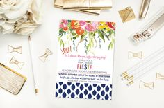 Bridal Shower Fiesta Invitation- Floral- Watercolor Flowers- Mexican- Baby Shower- Printed Invitations or Print Yourself by 4414Designs on Etsy
