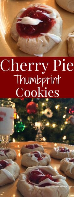 Cherry Pie Thumbprint Cookies are scrumptious! A shortbread style cookie topped with Cherry Pie Filling & a drizzle of chocolate, the perfect holiday treat! Thumbprint Cookies, Holiday Cookies, Holiday Treats, Holiday Recipes, Christmas Recipes, Cookie Desserts, Easy Desserts, Delicious Desserts, Dessert Recipes