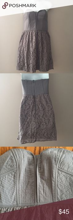"American Eagle Outfitters Grey Strapless Dress Excellent condition American Eagle Outfitters Grey Strapless Dress   Size small. 27"" long. Zip back closure. American Eagle Outfitters Dresses"