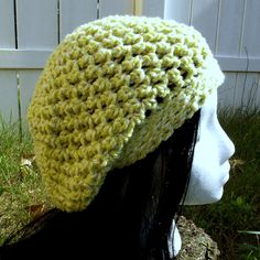 Key Lime Pie. This light weight lime and white slouch hat is great any time of the year.  Available to order @ facebook.com/hooka.yarn