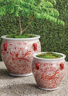 Chic and sophisticated, our handcrafted, handpainted ceramic planter is inspired by artistic works from the Ming Dynasty. Showcasing traditional patterns and motifs in the classic coral and white palette, each wheel-thrown piece is an inspired, one-of-a-kind work of art. Garden Planters, Planter Pots, Site Sign, Garden Oasis, Ceramic Planters, Hand Painted Ceramics, Cleaning Wipes, Outdoor Living, Palette