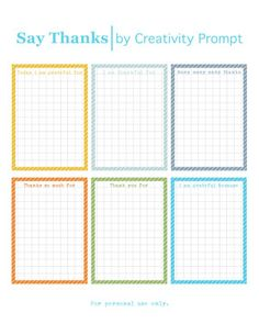 "Free Printable Journaling Cards: ""Say Thanks"" by Creativity Prompt"