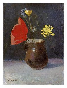 Odilon Redon - A Pitcher of Flowers - Art Print