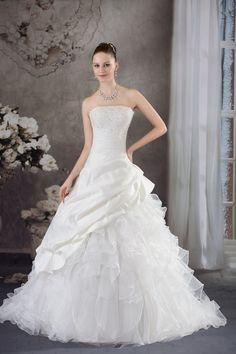 Prinzessin Gefaltet trägerloser Ausschnitt Brautkleid - Bild 1