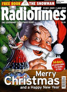 Christmas 2009 edition of the Radio Times. Cover art by Mick Brownfield. Christmas Cover, Merry Christmas To All, Retro Christmas, Cosy Christmas, Christmas Treats, Xmas, Christmas Comics, Christmas Scenes, Magazine Cover Layout