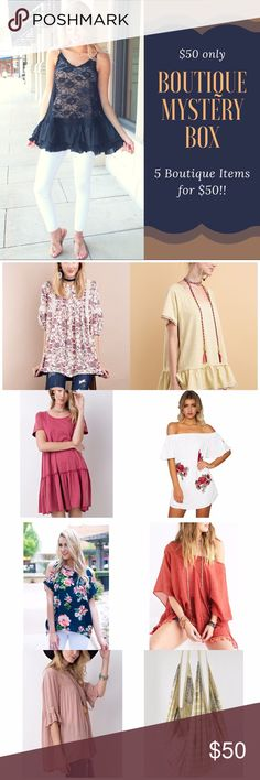Boutique Mystery Box Retail value over $250!!! All items are NWT Retail- Boutique. Some may contain jewelry and/ or accessories. I have 3 sizes listed. You can pick S, M, L.   All boxes will contain a mix of pants, shoes, skirts, shorts, leggings, tops, jewelry, swimwear or accessories. 95% of the items are listed.   Please Note: All sales are final. If you don't like something you can always reposh it! You cannot choose what goes in the box. It's a random selection. ‼️Price Firm‼️ Fabfindz…