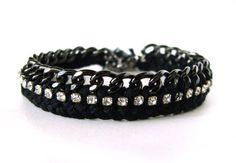 KateRhinestone Friendship BraceletBLACK by ShopChaiKim on Etsy, $68.00