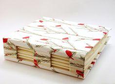 Christmas theme handbound book - buttonhole binding!