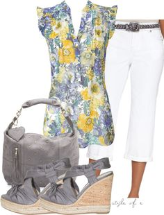 Floral Top with Gray, created by styleofe on Polyvore