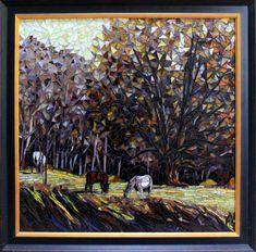 landscape mosaic art   mosaic landscape with horses - Showcase Mosaics   Art - 3D