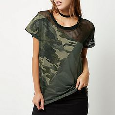 Khaki camouflage and mesh panel boyfriend t-s - print t-shirts / vests - t shirts / vests - women