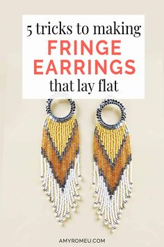 Making beaded fringe earrings top tricks and tips. My secret to how to make beaded fringe earrings lay flat and straight quickly and easily. Diy Seed Bead Earrings, Beaded Earrings Patterns, Tiny Stud Earrings, Seed Bead Jewelry, Fringe Earrings, Beading Patterns, Seed Beads, Amber Jewelry, Beading Tutorials