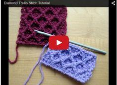 Crochet Tutorial Design A tutorial on how to crochet the diamond trellis stitch using front post treble crochet stitches. - A tutorial on how to crochet the diamond trellis stitch using front post treble crochet stitches. Crochet Diy, Crochet Motifs, Crochet Stitches Patterns, Tunisian Crochet, Crochet Crafts, Crochet Projects, Stitch Patterns, Knitting Patterns, Crochet Rope