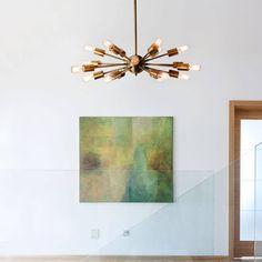 Lights.com | Ceiling Lights | Chandeliers | 18-Light Sputnik, Aged Brass
