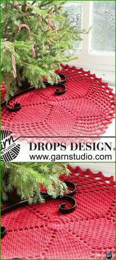 Repeat Crochet Me: Crochet Red Star Christmas Tree Skirt Free Pattern...
